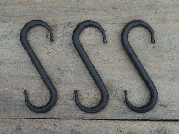 Set Of 3 Hand Forged S Hooks 4 Blacksmith Made Wrought Iron Pot Rack Utensil Hook Kitchen Hard