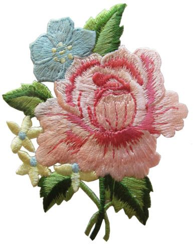 "3"" Pink Peony Bouquet Flower Embroidery Iron On Applique Patch"