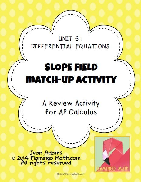 This activity is designed to help your AP Calculus students gain a better understanding for slope fields and their related differential equations. There are 36 task cards in the activity. The cards are sorted into sets which include a slope field graph, a differential equation, and a particular solution. A student response page and answer key are included.