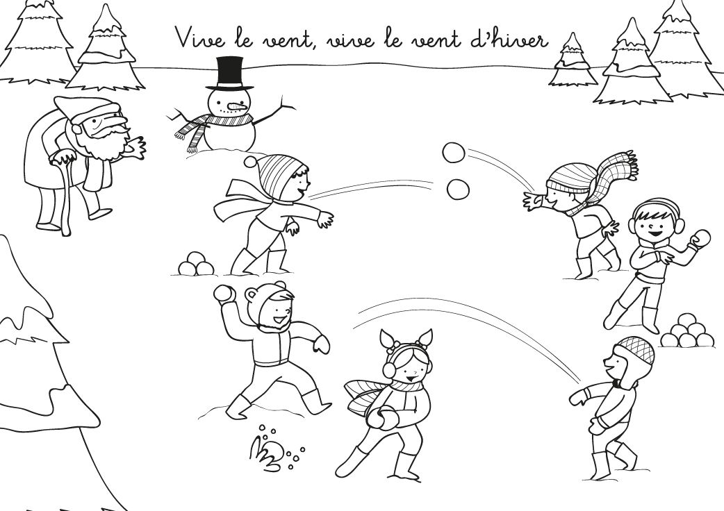 Coloriage chanson : Vive le vent d'hiver   Home decor decals