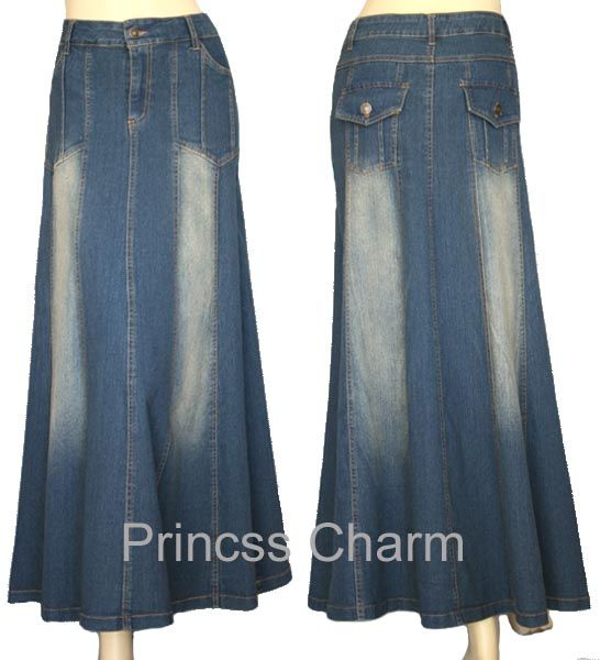 Details about Princess Charm Black Long Denim Skirt Plus Size 26 ...