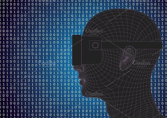 049ae97b5b virtual reality headset Graphics futuristic human head wearing vr headset  over a binary code background. Vector illustration.Downlo by alfonsodetomas