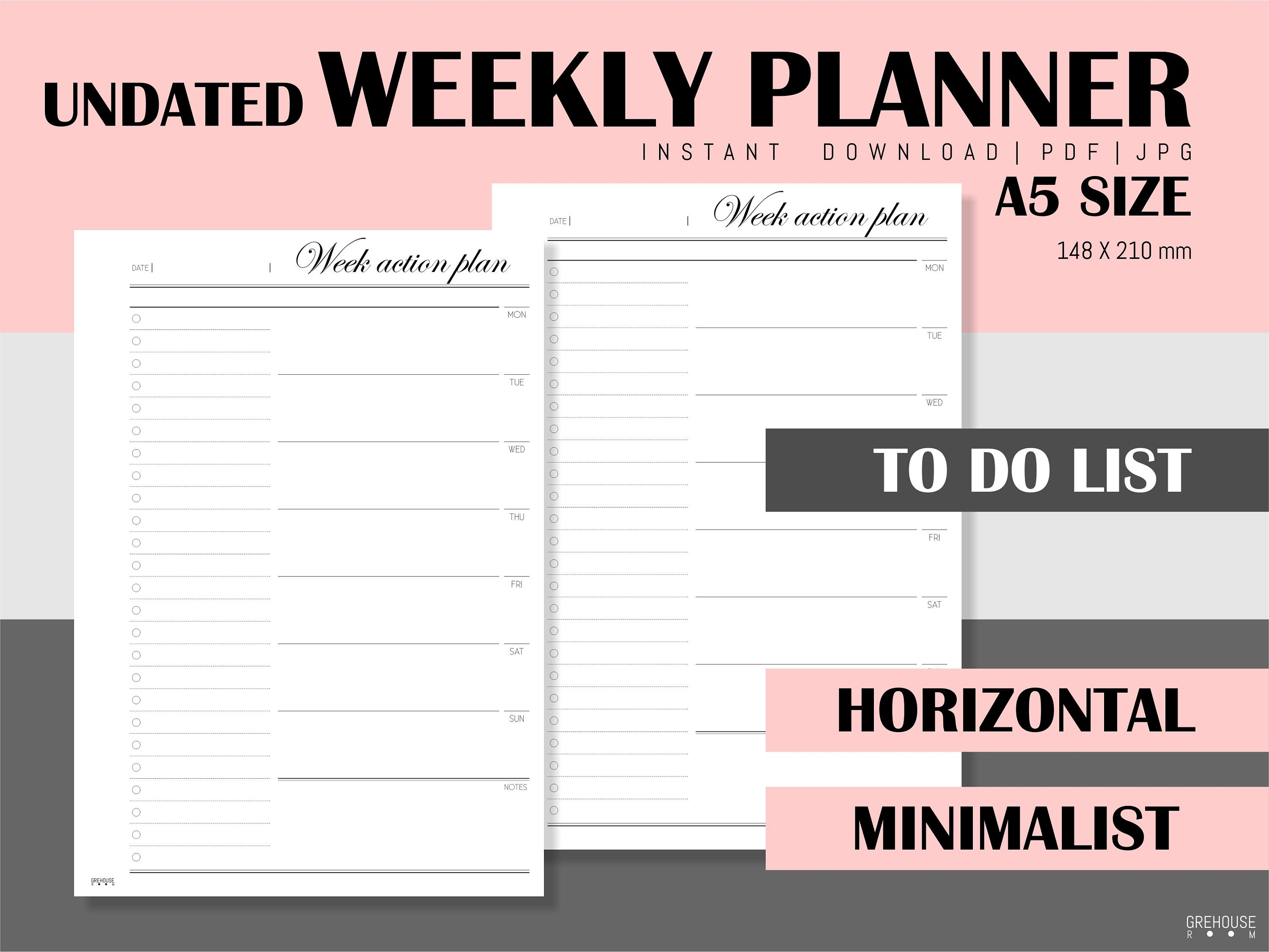 Weekly Planner Printable Filofax A5 Planner Inserts To Do List Etsy Weekly Planner Printable Undated Weekly Planner Weekly Planner
