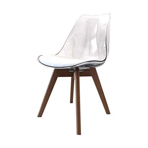 Zons Lot De 6 Alba Chaise En Pp Transparent Aux Pieds En Bois Style Scandinave En 2020 Chaise Transparente Chaise Style Scandinave