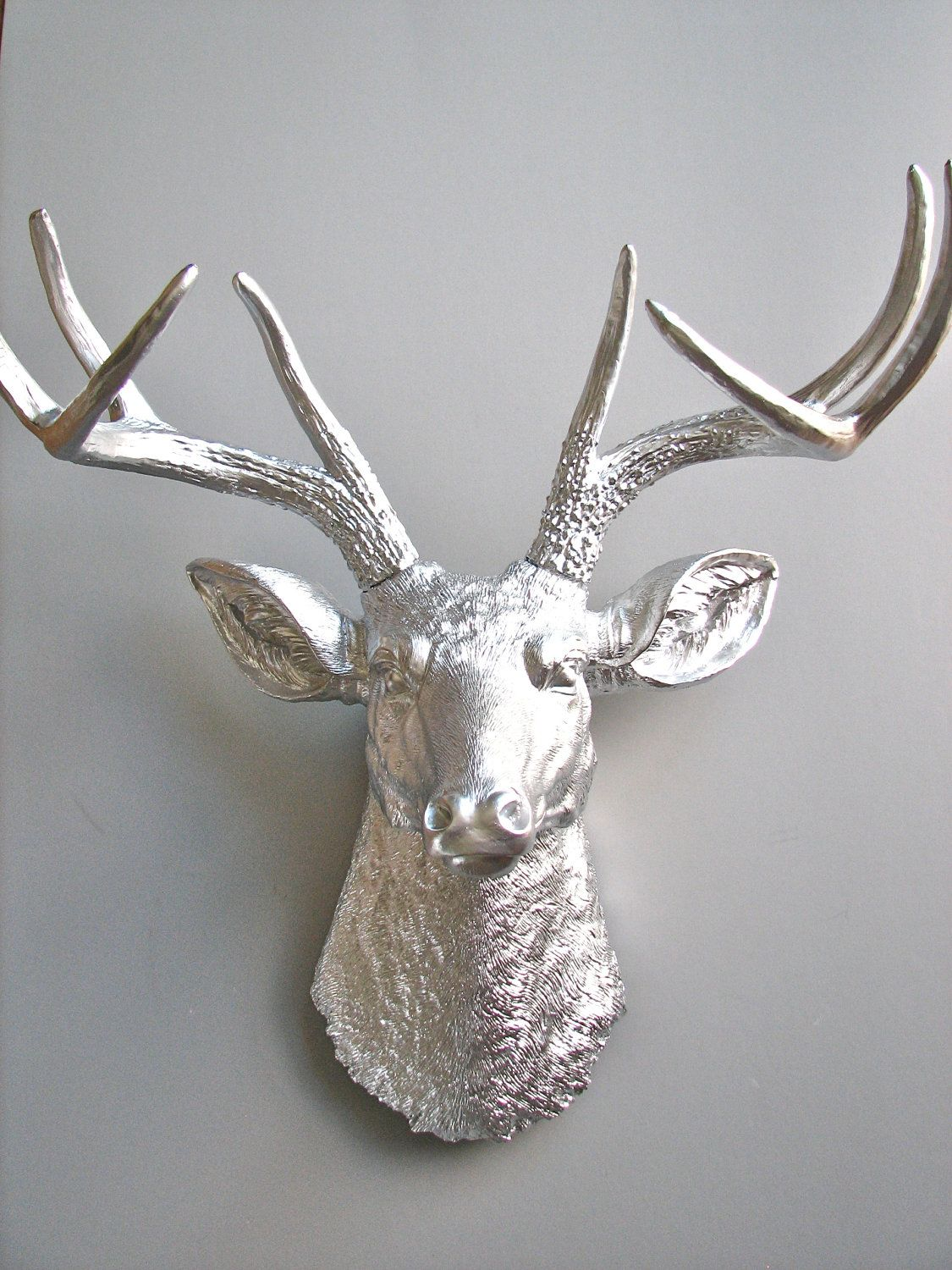 Faux Stag Head Silver Faux Taxidermy Deer Head Wall Mount Faux Animal