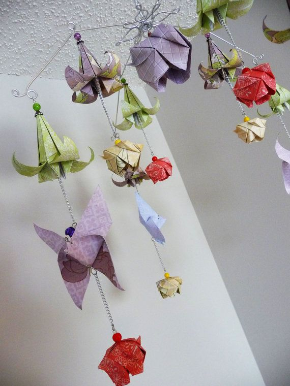 Origami rose mobile flower mobile butterfly mobile baby mobile baby girl baby mobile flower mobile butterfly mobile rose mobile origami mobile mightylinksfo