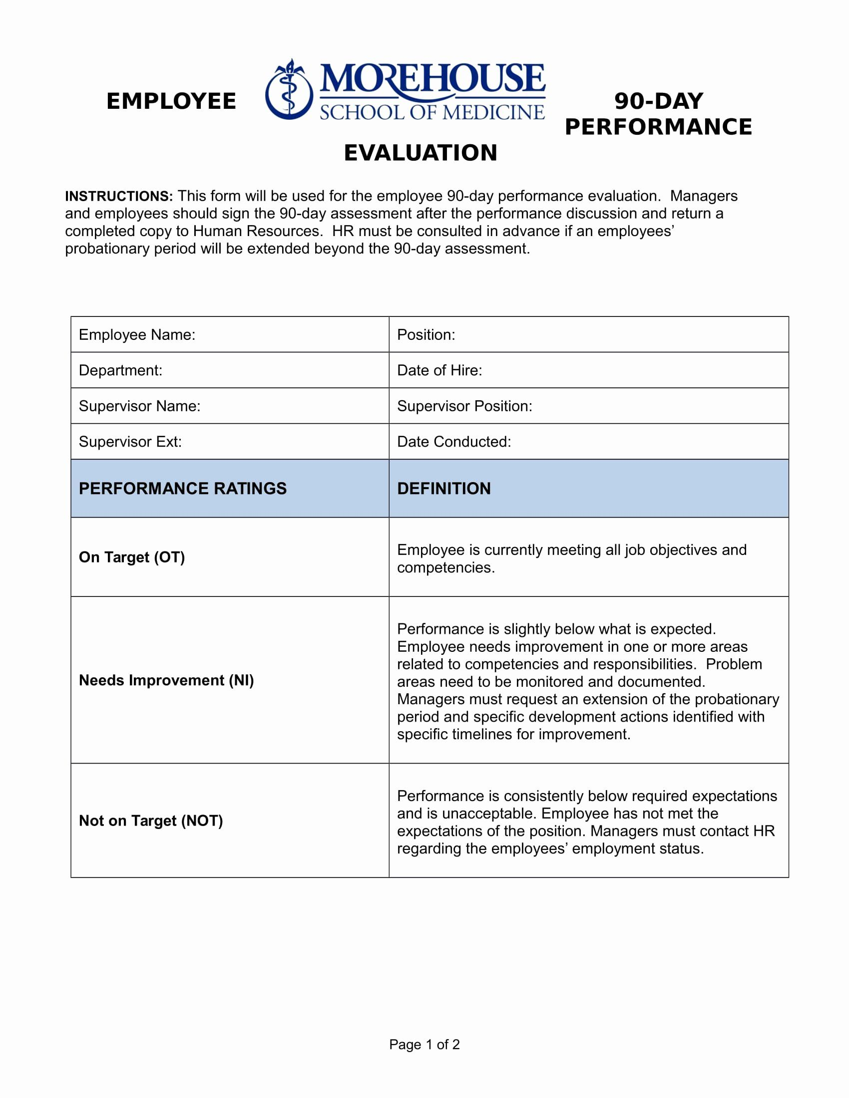 90 Day Employee Evaluation Form Lovely Free 14 90 Day Review Forms In Pdf Employee Evaluation Form Evaluation Employee Performance Reviews 90 day performance review template