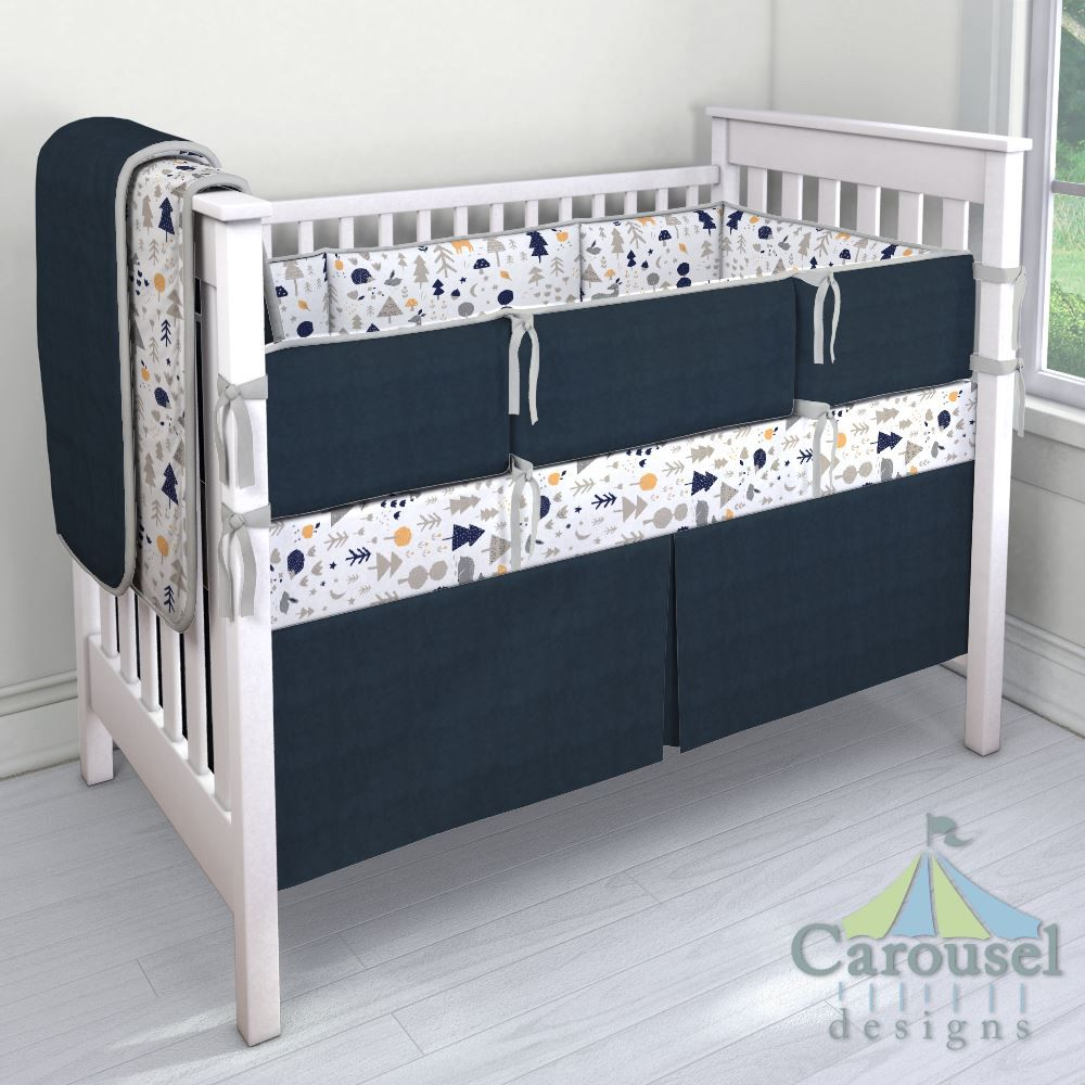 Toddler Mattress Crib Fitted Sheet in Navy Stagg Head