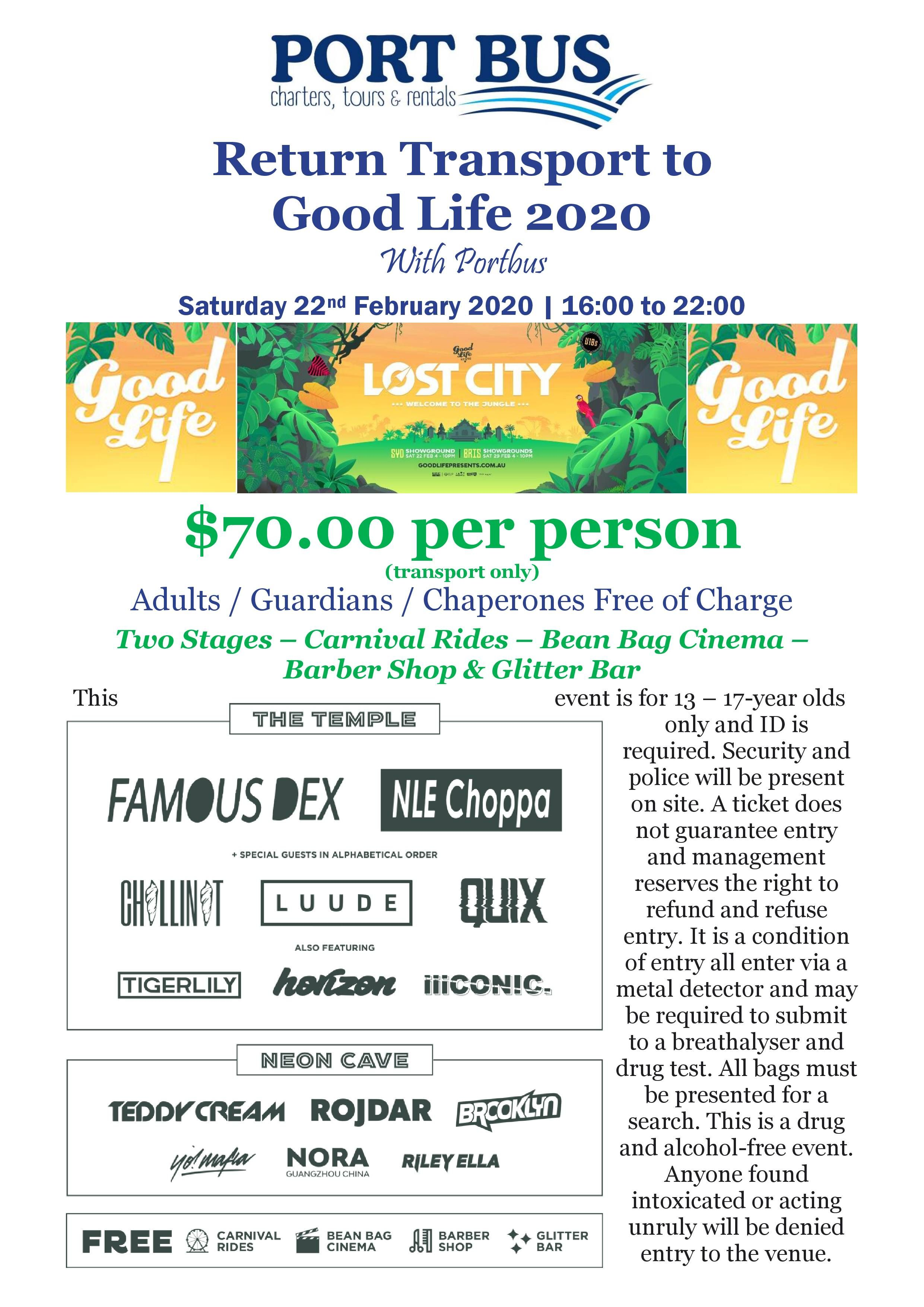 Return Transport To Good Life 2020 With Port Bus Saturday 22nd