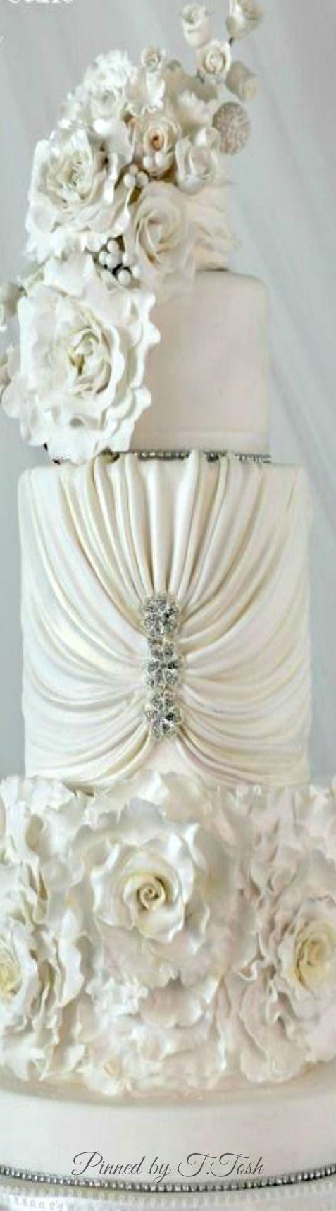 All White Wedding Cake • I Do | Lovely Brides | Pinterest | White ...