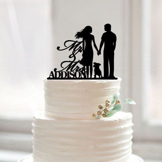 67718bd79a4f96 Acrylic Wedding Cake Topper with Dog, Mr Mrs Last Name Cake Toppers, Wedding  Decoration
