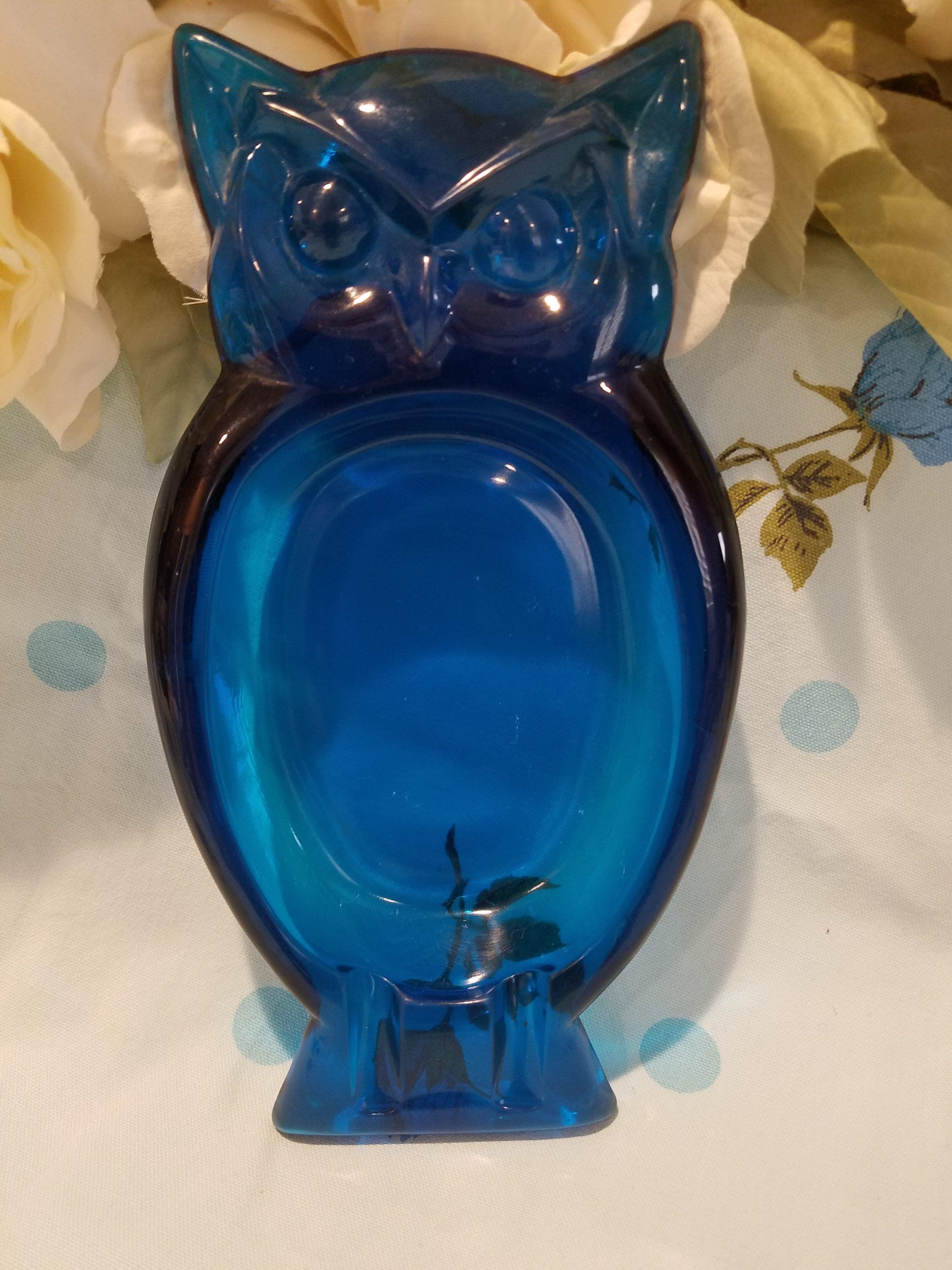 Retro Blue Glass Owl Ashtray Blue Glass Retro Glass