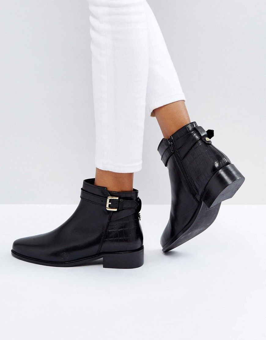 London Poppy Leather Buckle Ankle Boots