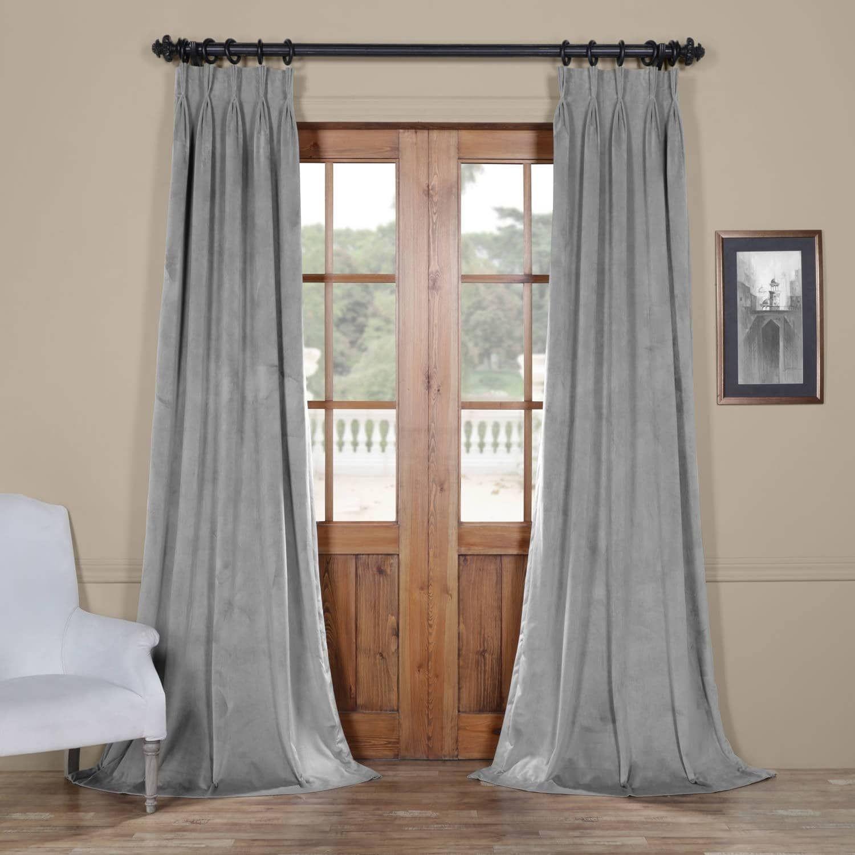 Exclusive Fabrics Signature Pinch Pleated Blackout Solid Velvet Curtain Panel Velvet Curtains Linen Blackout