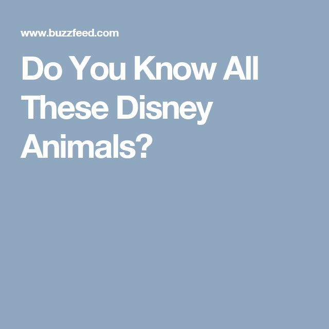 Do You Know All These Disney Animals?