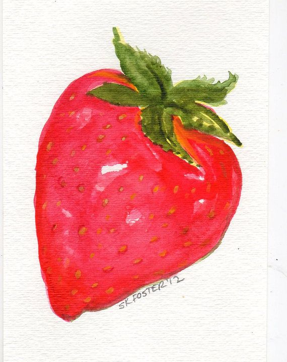Strawberry Watercolor Painting Original Art 4 By Sharonfosterart