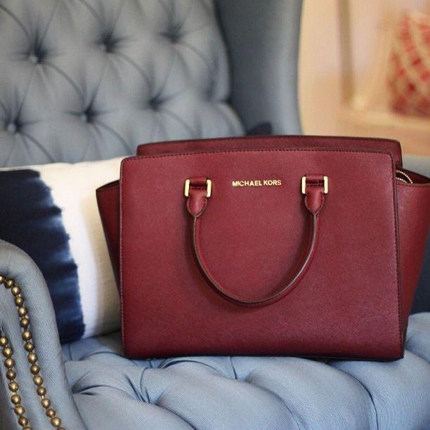 maroon structured bag   Brown satchel, Michael kors selma