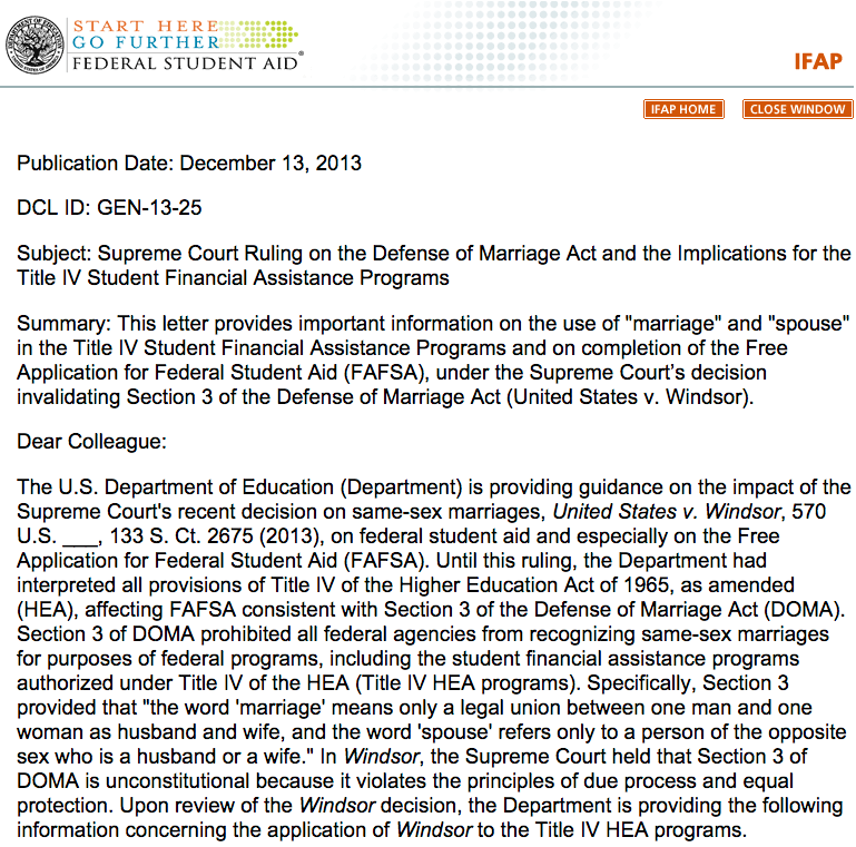 Dear Colleague Letter Gen 13 25 Supreme Court Ruling On The Defense Of Marriage Act And The Implications For The Title Financial Assistance Lettering Student