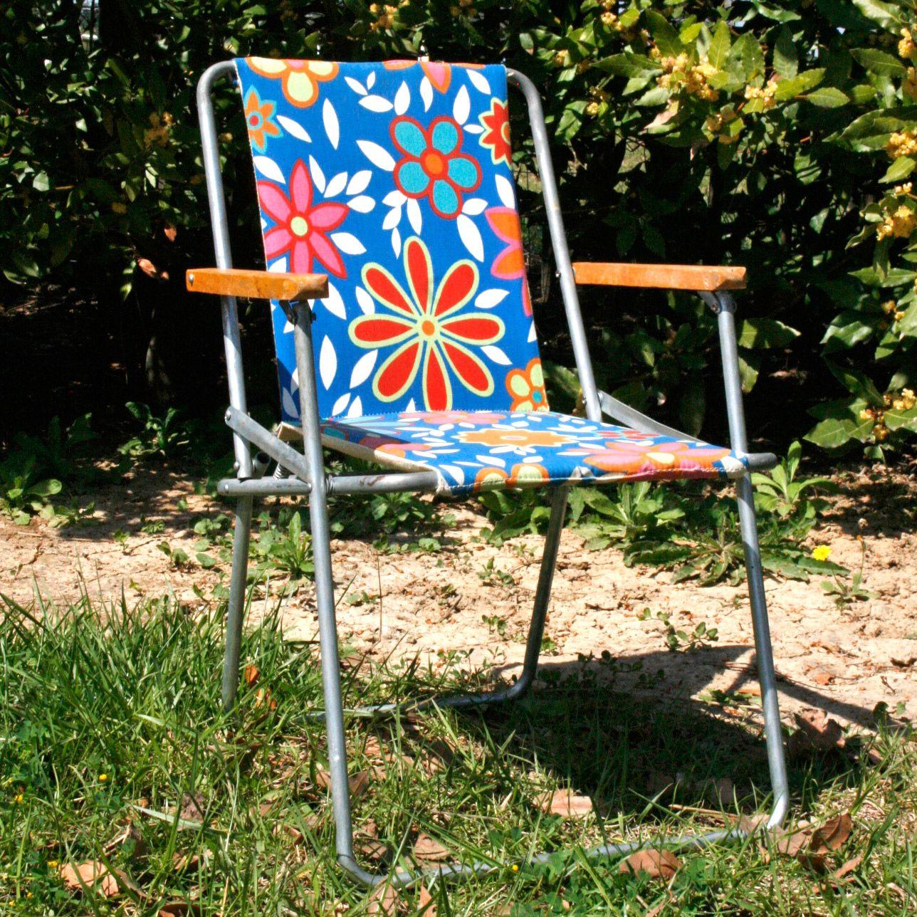 Chaise De Camping Vintage Pour Enfant Avec Accoudoirs En Bois