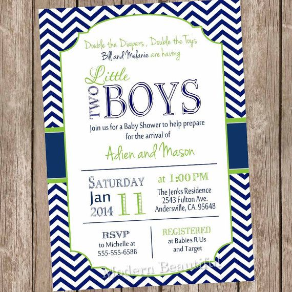 twin boys baby shower invitation, navy and lime green, chevron, Baby shower invitations