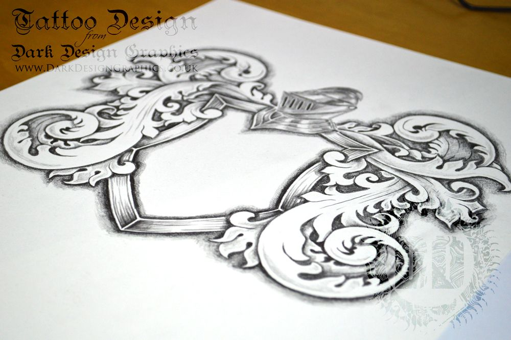 A Fully Shaded Coat Of Arms Template Download Perfect For A Tattoo