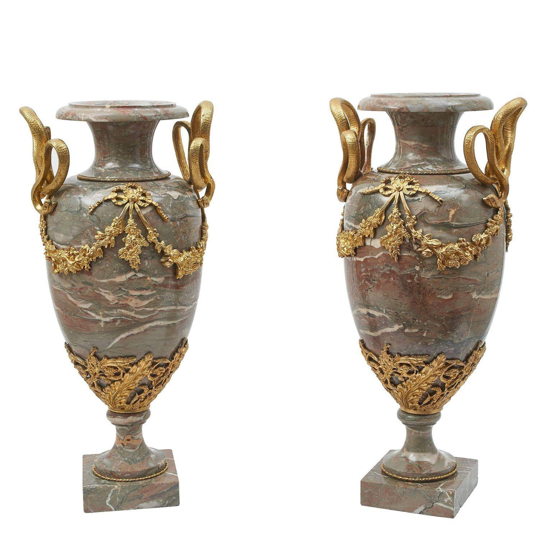 Decorative Large Urns Extraordinary Pair Of Large Napoleon Iii Marble And Gilt Bronze Urns Circa 1880 Design Inspiration