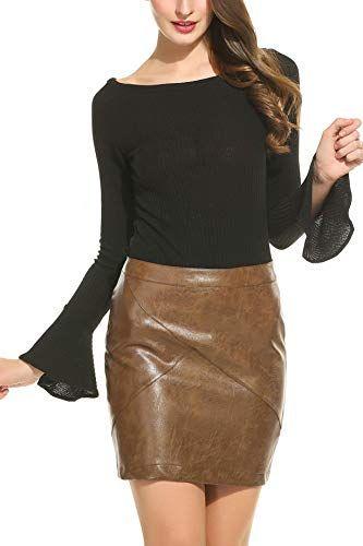 409a90710 Meaneor Women Classic High Waist Faux Leather Bodycon Slim Mini Pencil Skirt