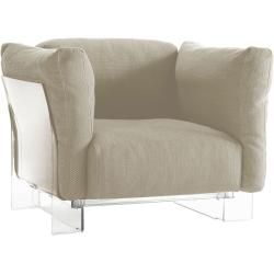 Photo of Kartell Pop Duo armchair, transparent frame, ecru KartellKartell fabric