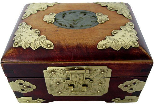 Wood Brass Jade Jewelry Box Jade Pinterest Jade jewelry