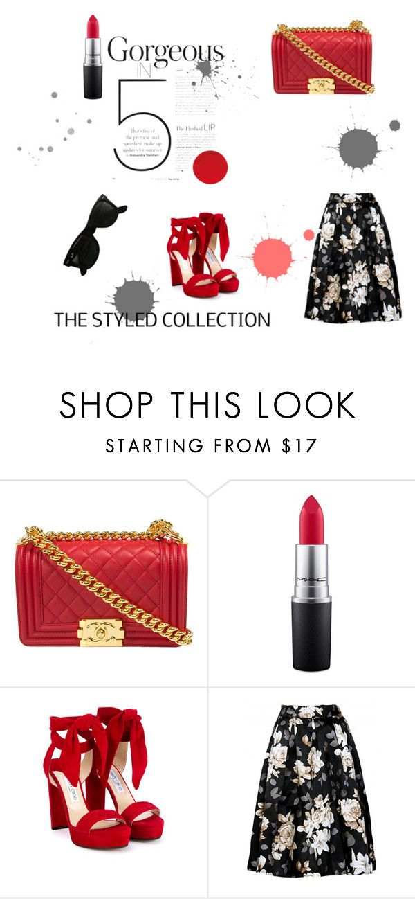"""Gorgeous"" by raysagomez on Polyvore featuring Chanel, MAC Cosmetics, Jimmy Choo and Ray-Ban"
