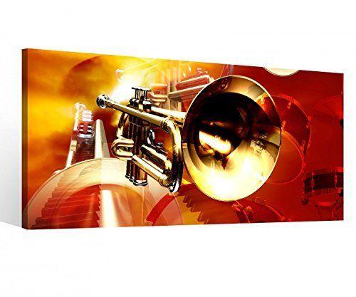Leinwandbild 1 Tlg Musik Trompete abstrakt Kunst Noten Jazz Leinwand - wohnzimmer bilder abstrakt