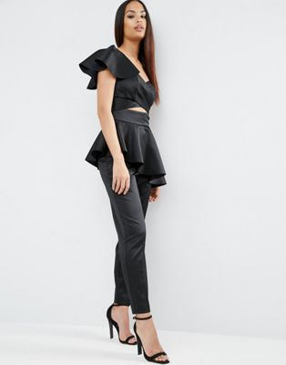 Jumpsuit with One Shoulder Ruffle Detail - Black Asos Outlet Footaction Quality Original Low Shipping Sale Online Real MLXgus
