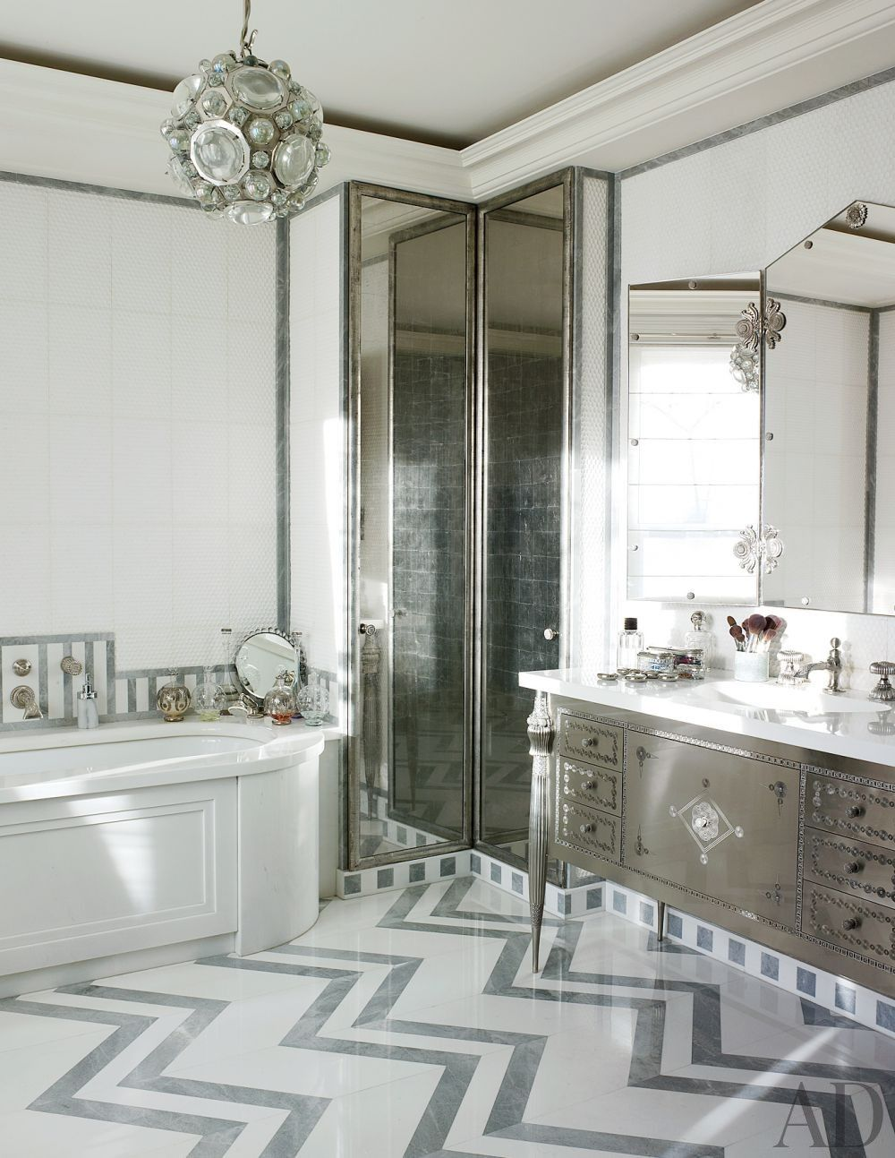 Contemporary bathroom in home in London, England design by Jacques ...