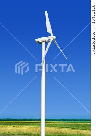 Green Meadow With Wind Turbine Wind Turbine Turbine Wind