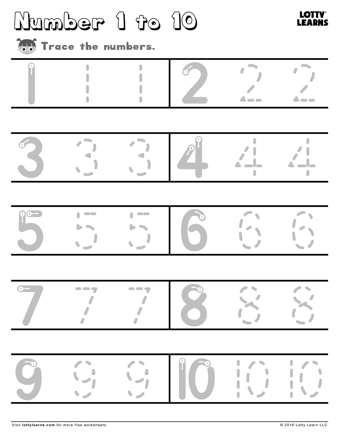 Number 1 to 10 Lotty Learns teachnumbers1to10 Numbers