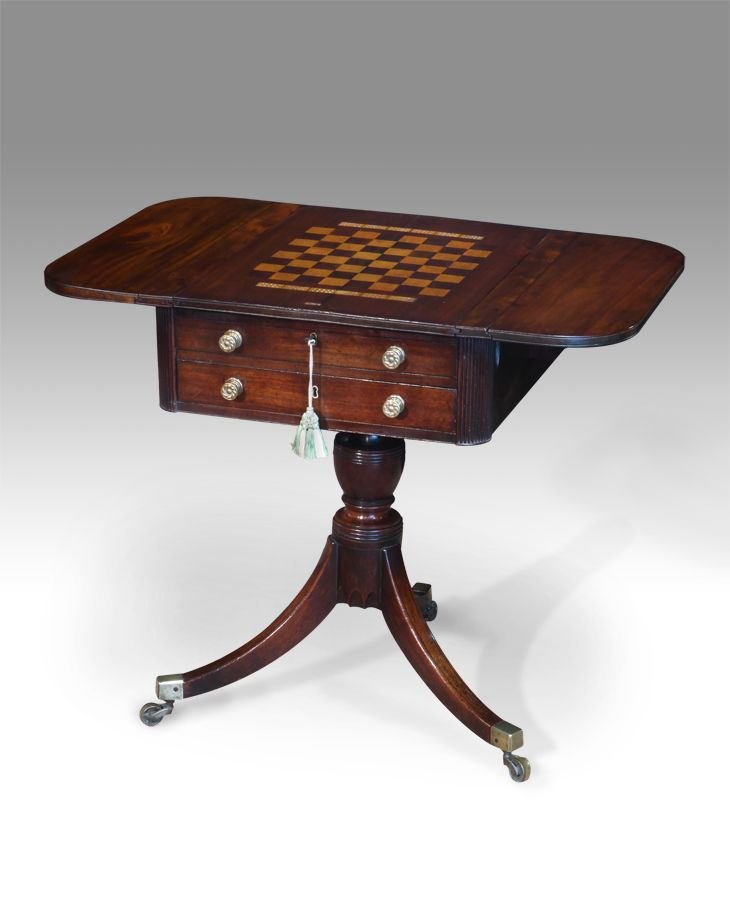 Antique Games Table, Chess Table, Backgammon Table : Antique Game Tables UK    Antique Work Tables   Mahogany Work Table   Work Table, Games Table
