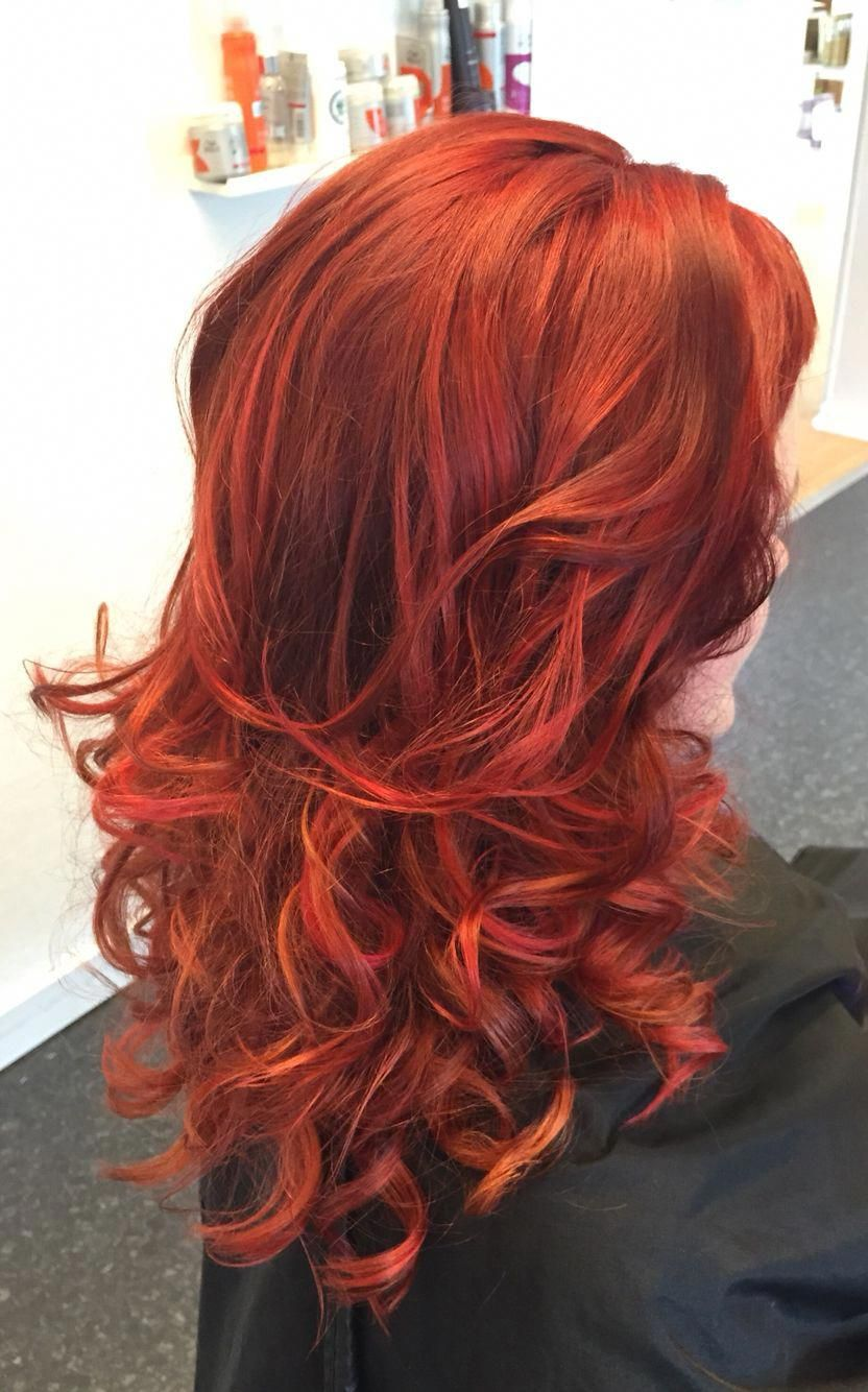 Cool Curly Redhead With Copper Crazy Red Pink Highlights