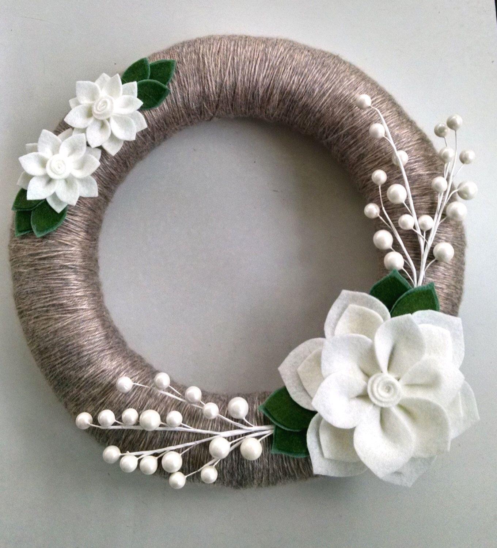 Holiday wreath, felt flower wreath,12 inch wreath, winter wreath ...