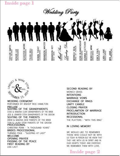 Silhouette Wedding Program Weddingprogram
