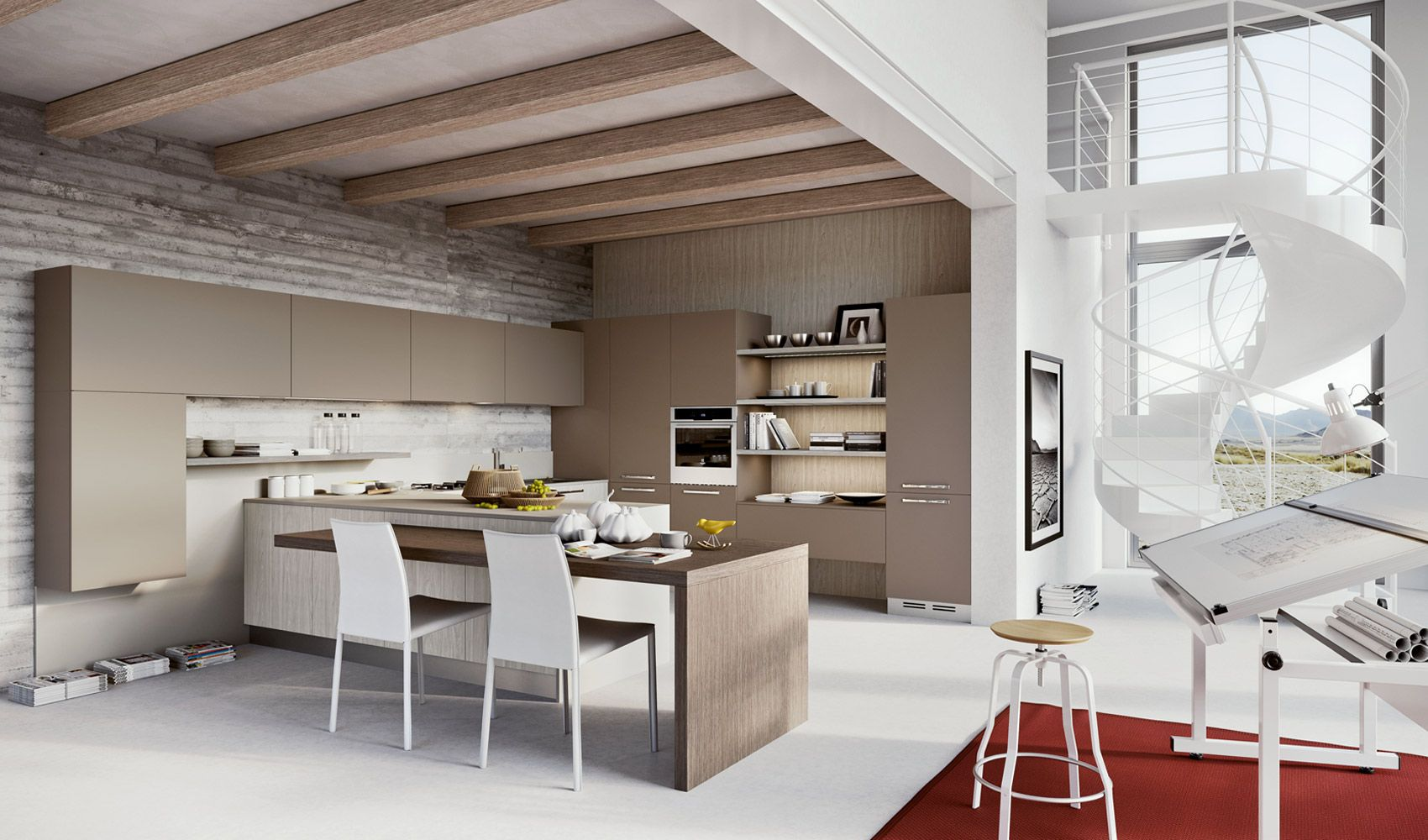 Arredo3 Luna Tall And Wall Units In A Tobacco Colour And Floor Units In White Holm Oak Modern Kitchen Design Kitchen Remodel Design Interior Design Kitchen