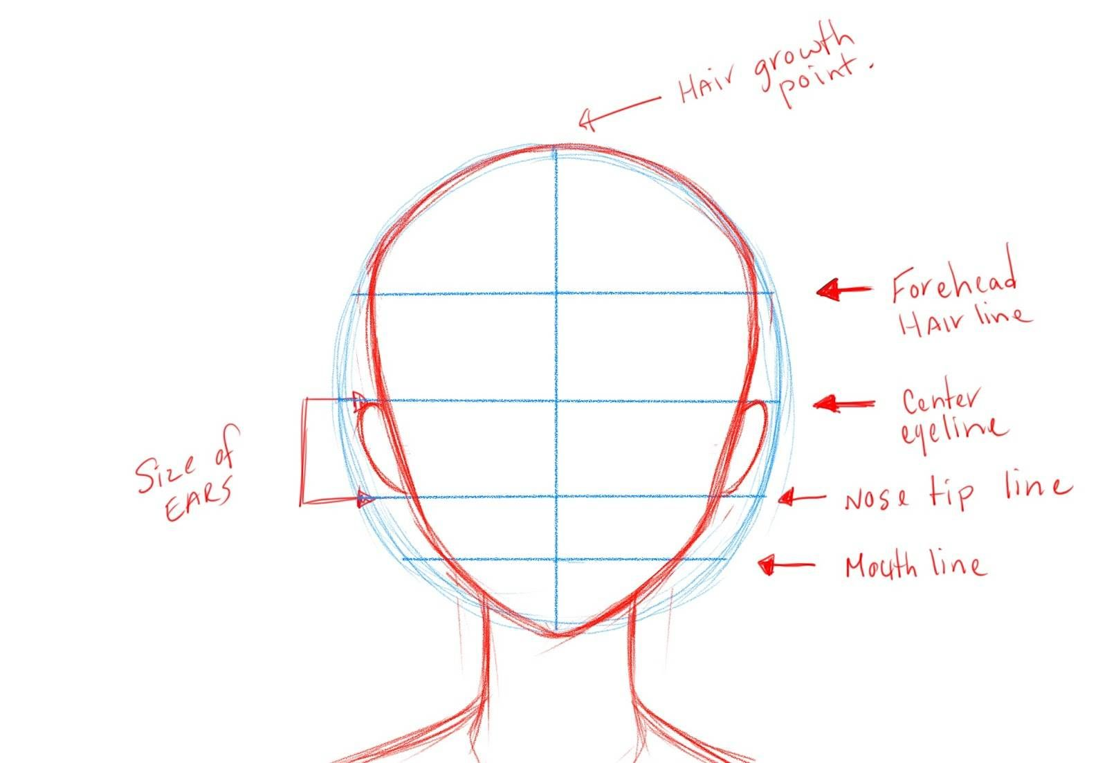 How To Draw Anime Using Guidelines Anime Face Drawing Anime Drawings How To Draw Hair