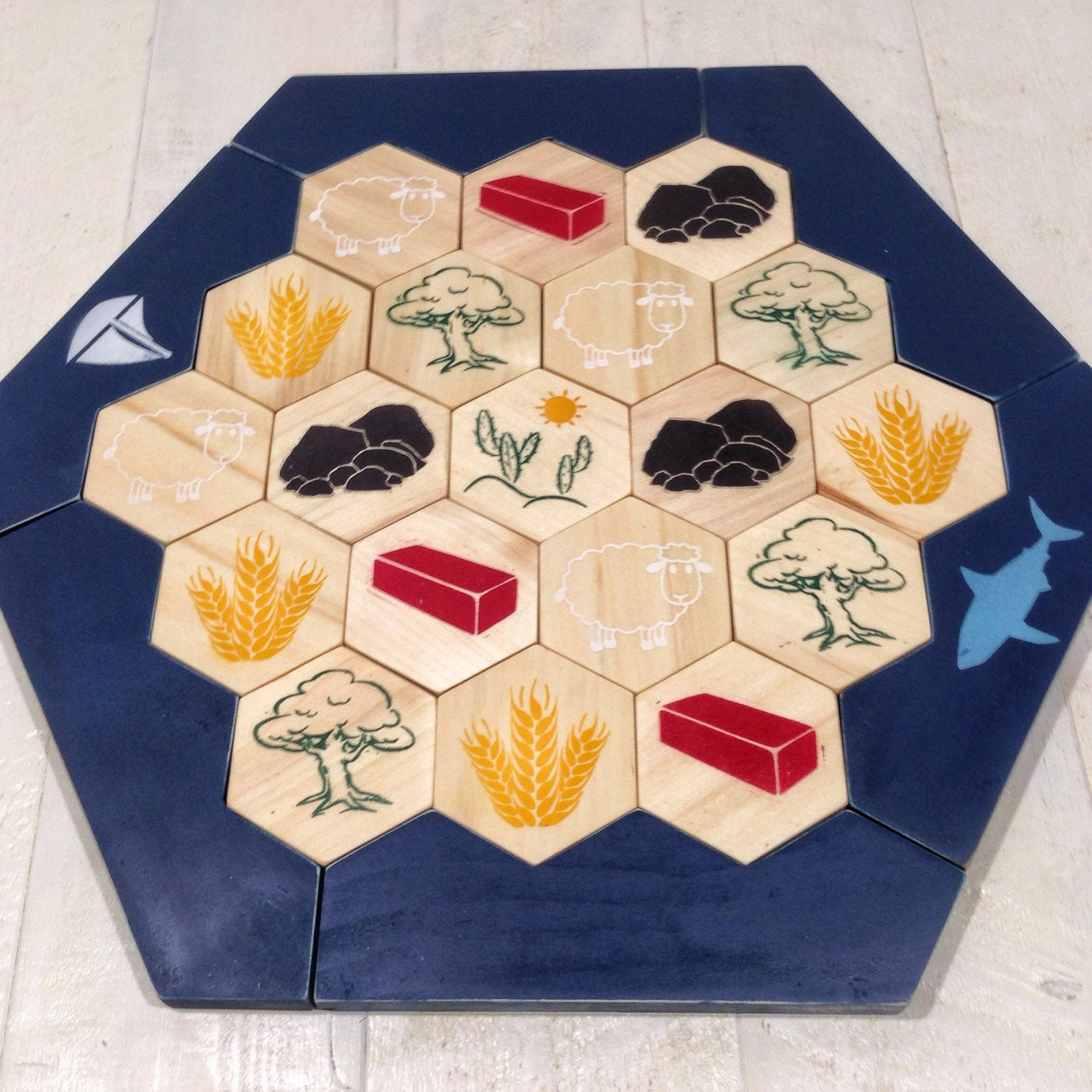Catan Settlers Board Settlers Of Catan Painted By Sodacreek Etsy Mall Etsy Finds Etsy