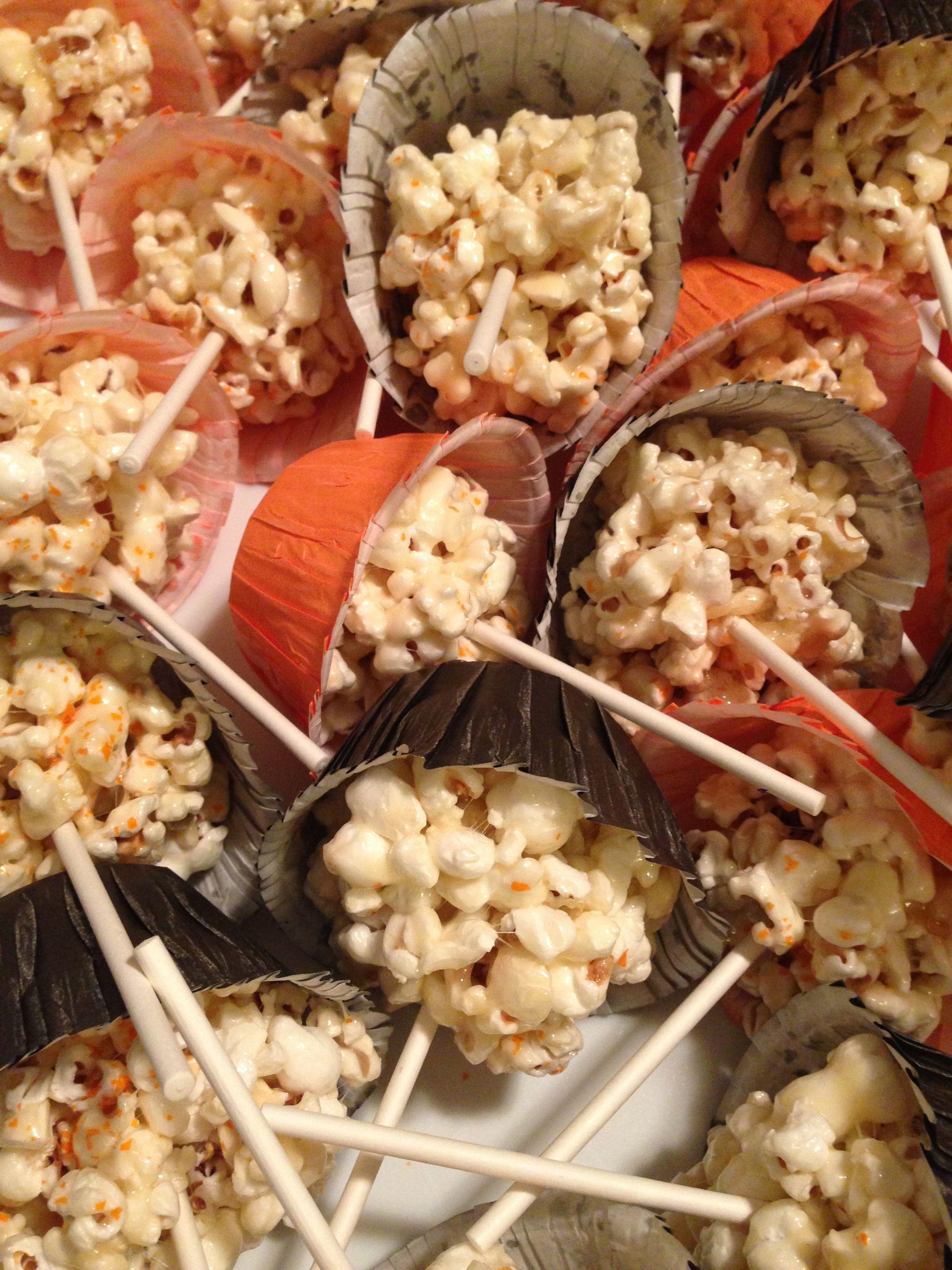 Halloween popcorn balls on a stick make just like rice