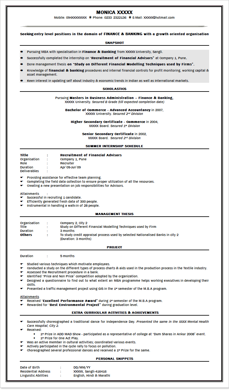 Professional Cv Format In India | resume examples | Pinterest