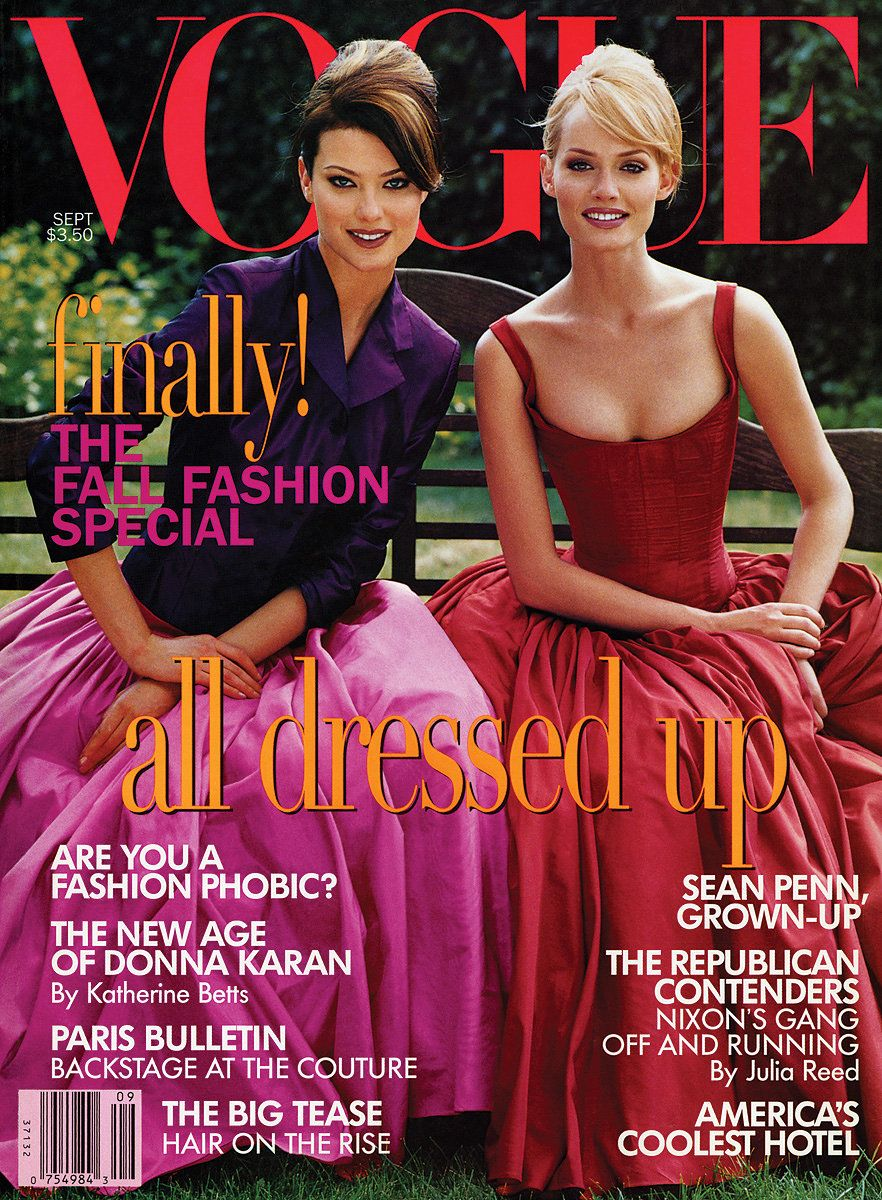 Shalom Harlow and Amber Valetta photographed by Steven Meisel in Isaac Mizrahi formal wear on the cover of Vogue, September 1995.