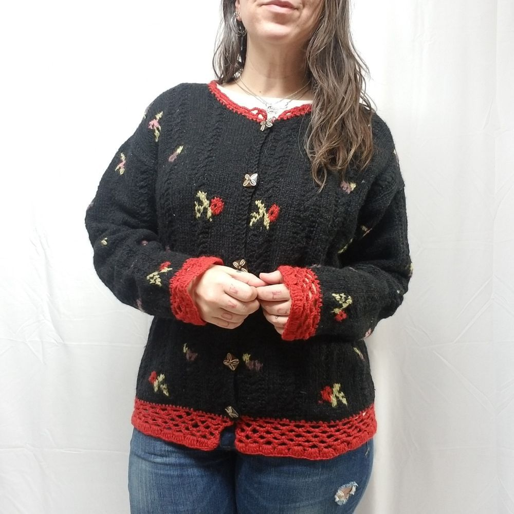 51ad9de8ed Vtg THE EVEREST 100% Wool Cardigan Sweater Nepal Made Black Red Trim Floral  S M  TheEverest  CardiganSweater