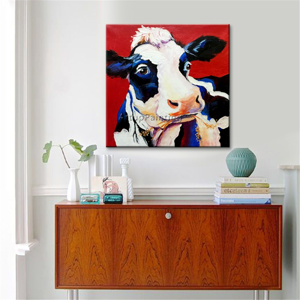 Details about animal oil painting modern abstract cute cow for Cute abstract art
