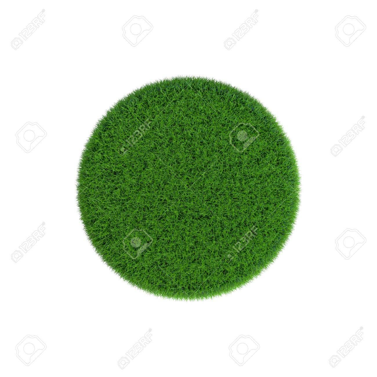 Patch of grass in form of circle. Isolated on white background.3D rendering illustration. , #sponsored, #form, #circle, #Patch, #grass, #Isolated
