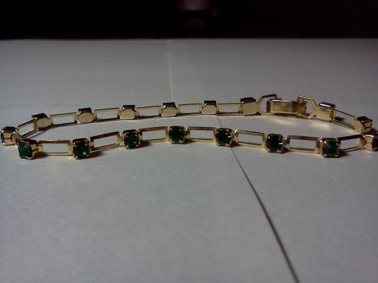 Emerald Green CZ and Goldtone Link Bracelet