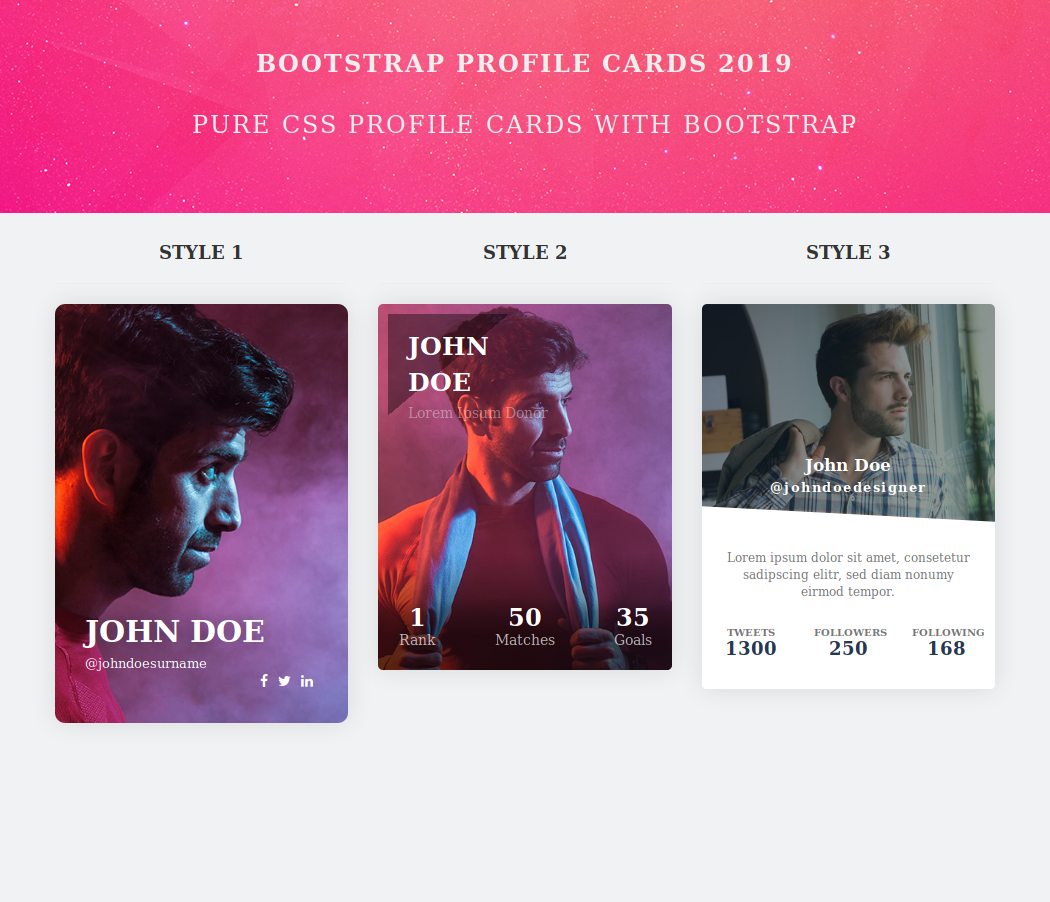 Bootstrap Profile Cards 2019 Login Page Design Css Profile Cards